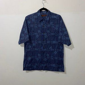 TORI RICHARD FADED BLUE FLORAL HAWAIIAN SHIRT - M
